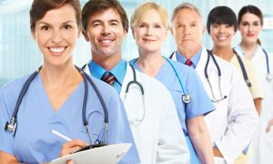 Group of medical doctors over hospital background